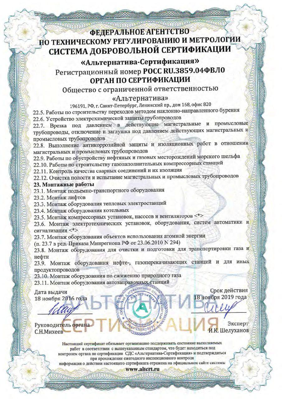 Приложение 6 к сертификату