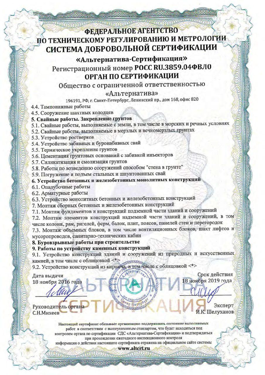 Приложение 5 к сертификату