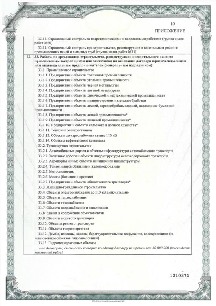 Приложение 9 к свидетельству о допуске