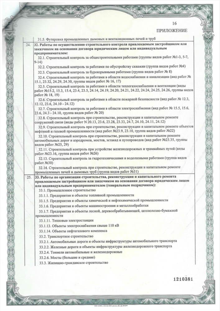 Приложение 15 к свидетельству о допуске